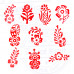 (Set of 10) Fabric Wood Stamps Indian Small Floral Design Printing Blocks