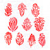 (Set of 10) Clay Printing Stamps Decorative Small Floral Design Wood Blocks