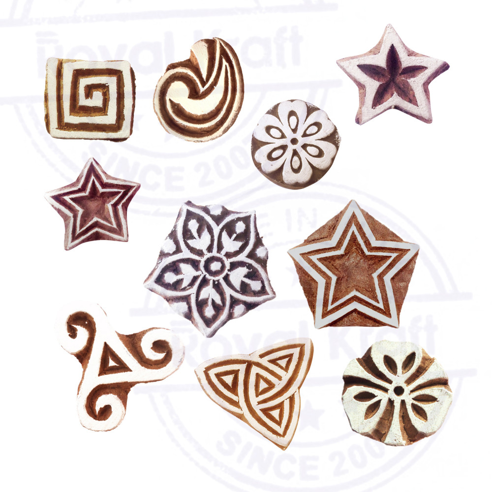 Set of 10 Clay Print Stamps Attractive Small Geometric Pattern Wood Blocks