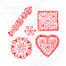 (Set of 5) Artisan Designs Geometric and Heart Wooden Block Stamps