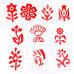 (Set of 10) Fabric Wood Stamps Designer Small Leaf Pattern Printing Blocks