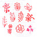 (Set of 10) Henna Print Stamps Attractive Small Floral Leaf Shape Wooden Blocks