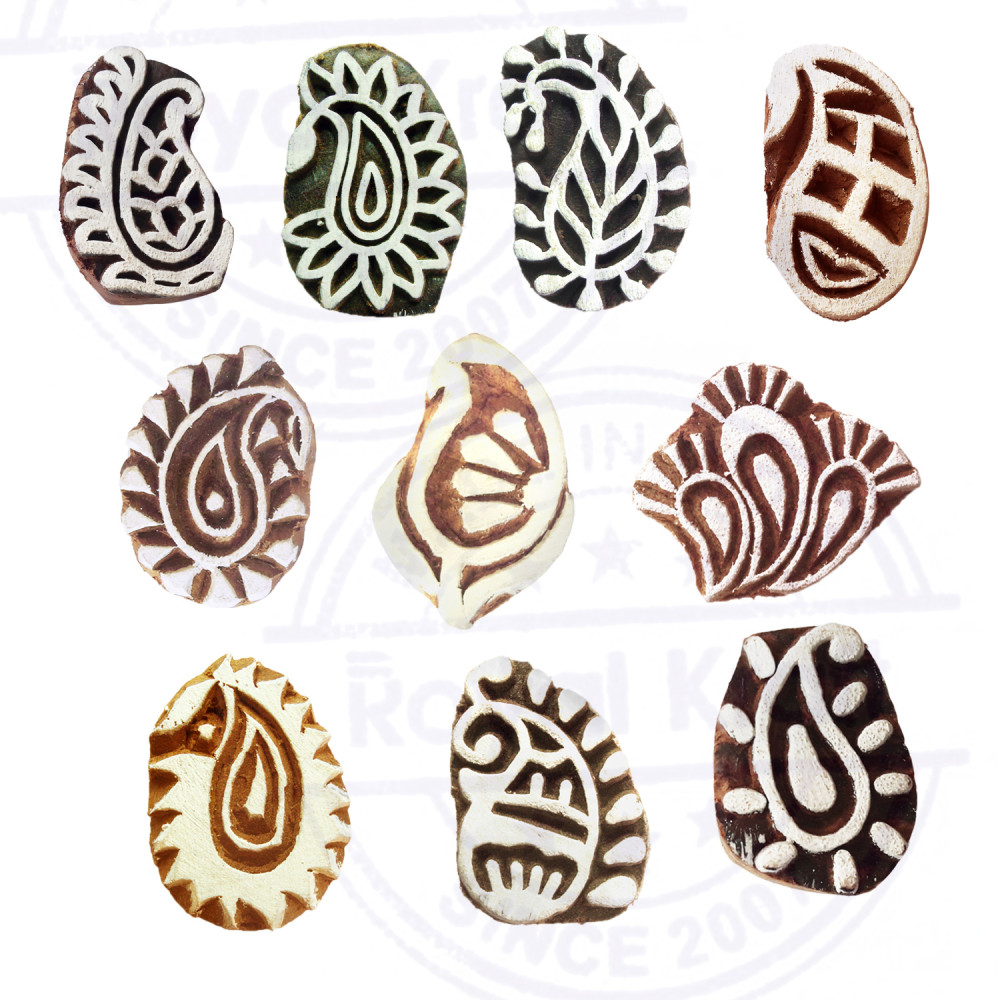 Set of 10 Paper Print Stamps Trendy Small Paisley Pattern Wood Blocks