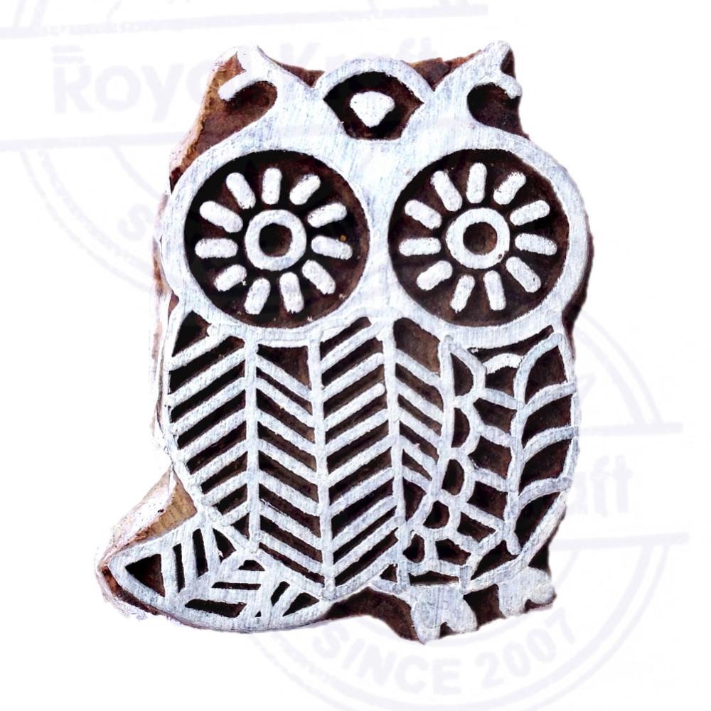 Attractive owl bird pattern wooden block stamp thdtag