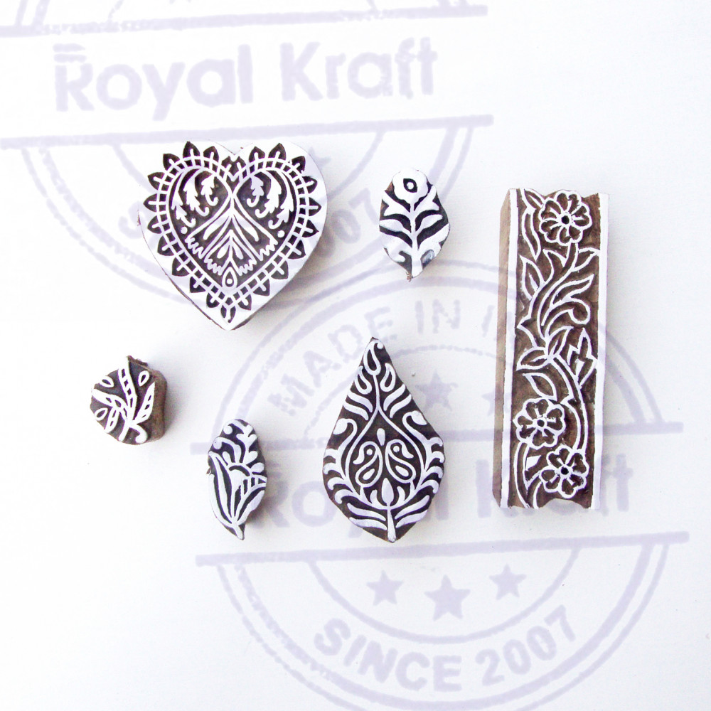 Set of 6 Royal Kraft Asian Leaf and Paisley Designs Wooden Block Stamps