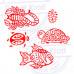 (Set of 5) Popular Shapes Scorpio and Aquatic Wood Block Print Stamps