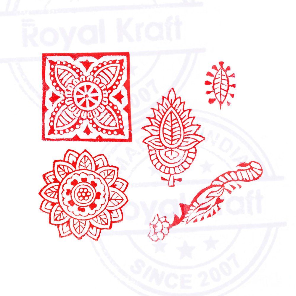 Asian Leaf and Paisley Designs Wooden Block Stamps (Set of 6) Royal ...